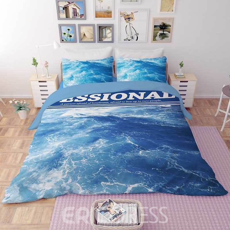 Vivilinen 3D Blue Ocean Printed Polyester 4-Piece Bedding Sets/Duvet Covers