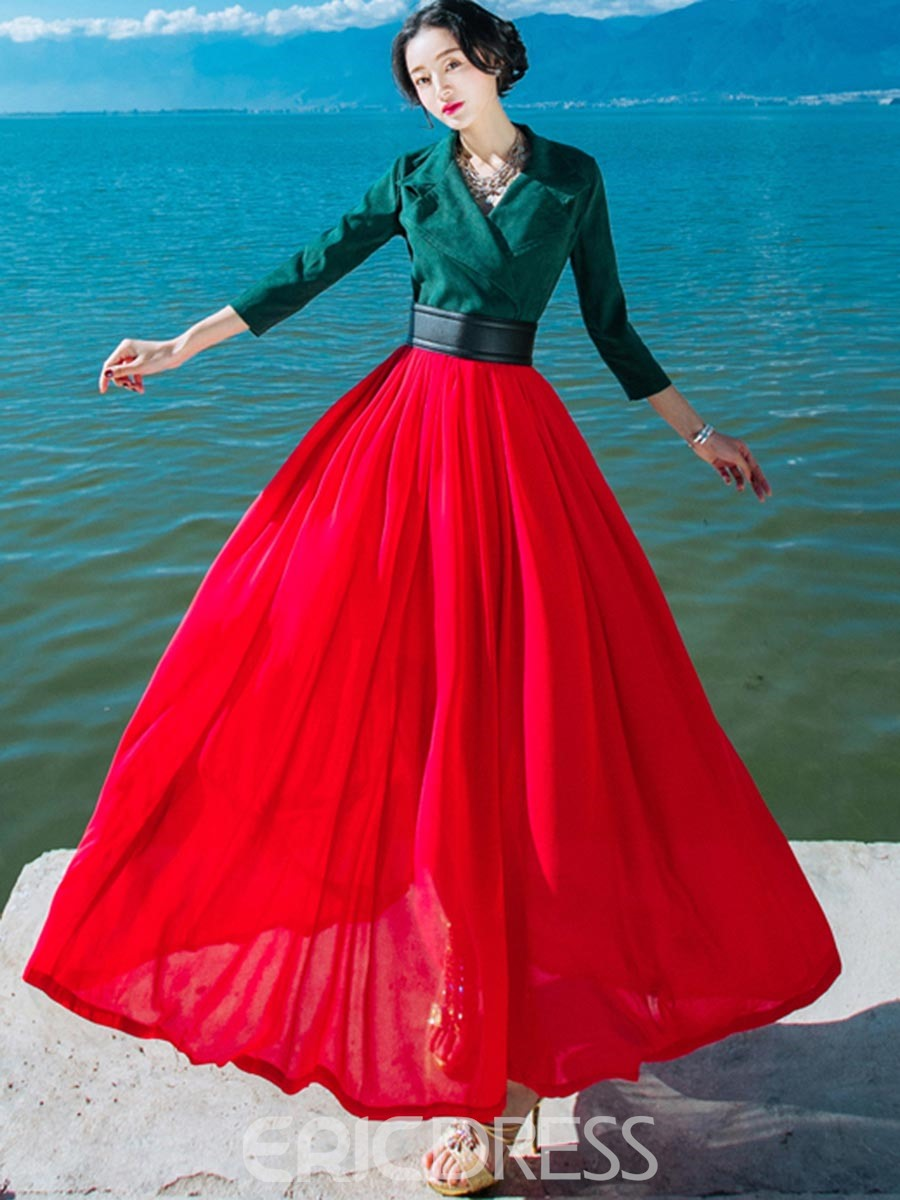 Ericdress Color Block Lapel 3/4 Sleeves Expansion Maxi Dress