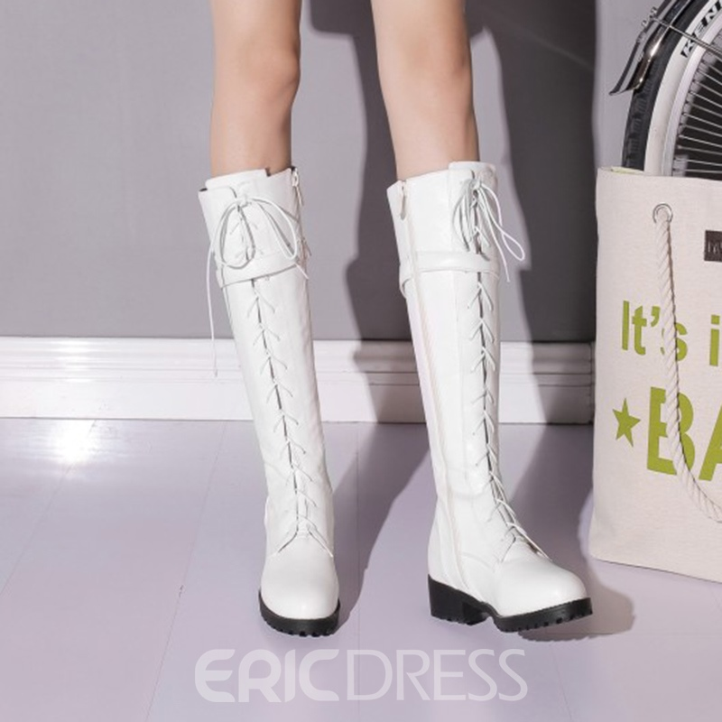 Ericdress Cross Strap Plain Knee High Boots with Buckle