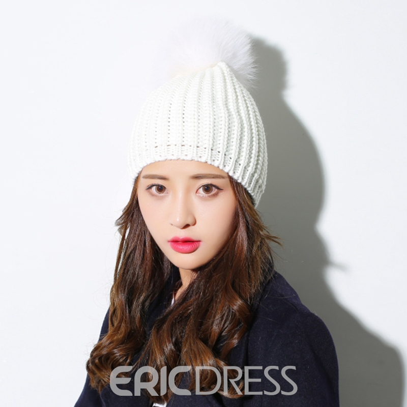 Ericdress Pure Color Fuzzy Ball Knitting Wool Thicken Women's Hat