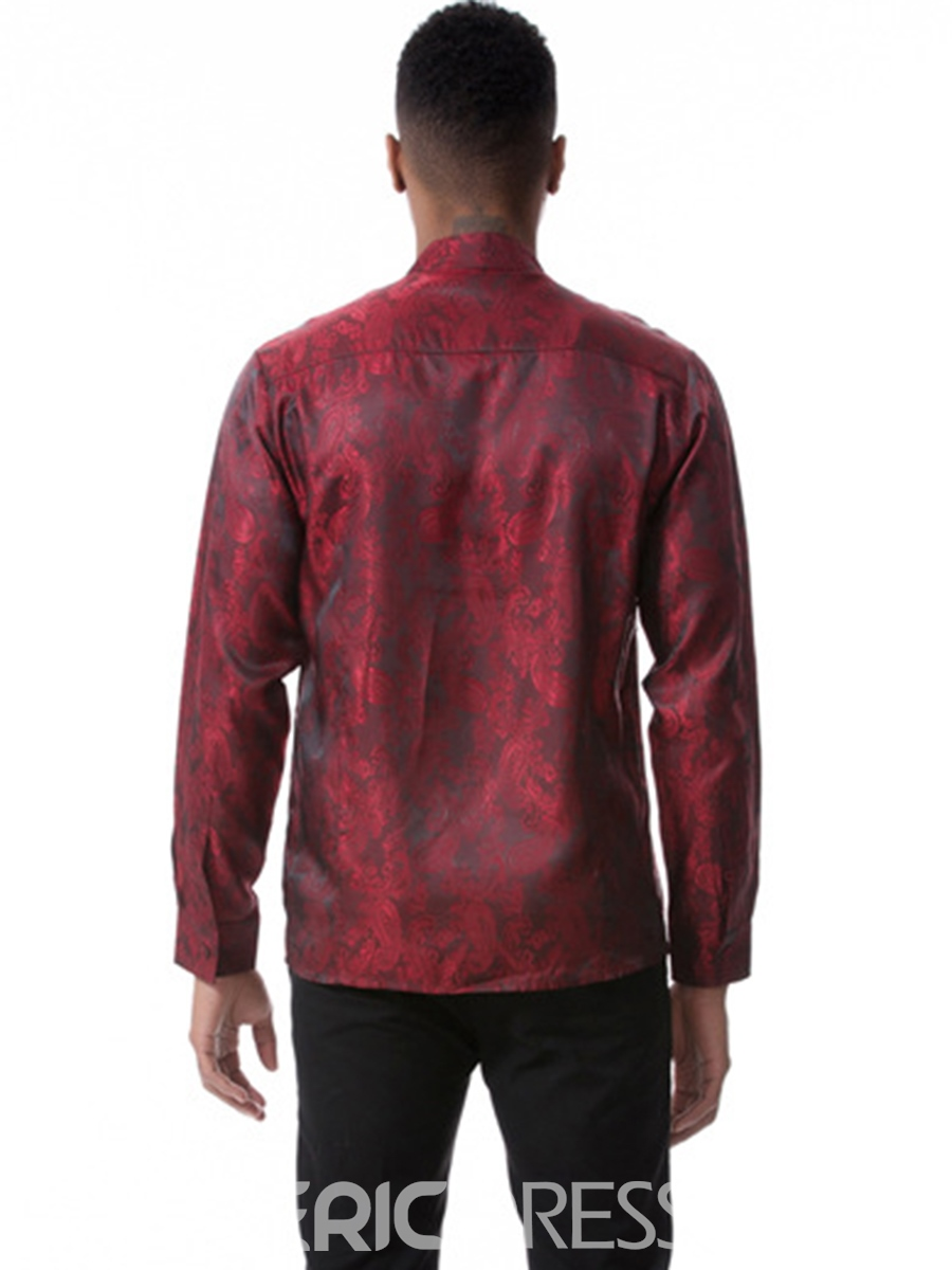 Ericdress Plain Print Irregular Cotton Long Sleeve Vogue Slim Men's Shirt