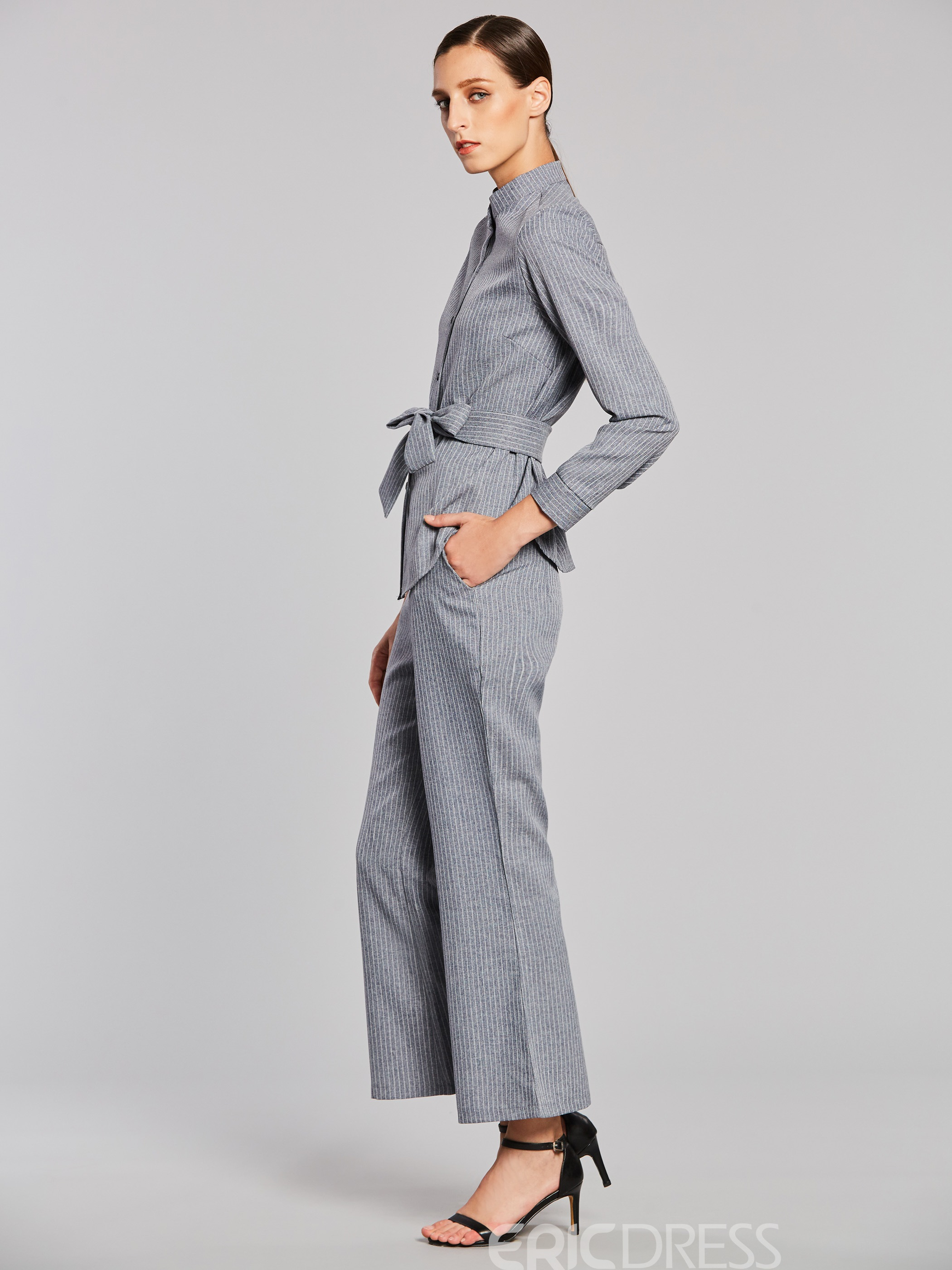 Ericdress Stripe Single-Breasted Lace-Up Shirt and Wide Leg Pants Women's Elegant Suit