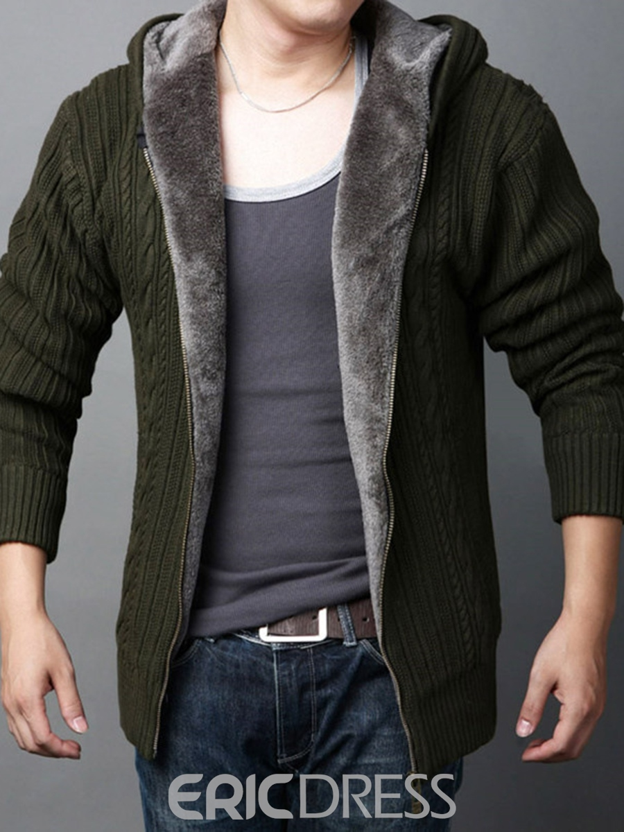 Ericdress Plain Zip Thicken Warm Slim Men's Cardigan Sweater