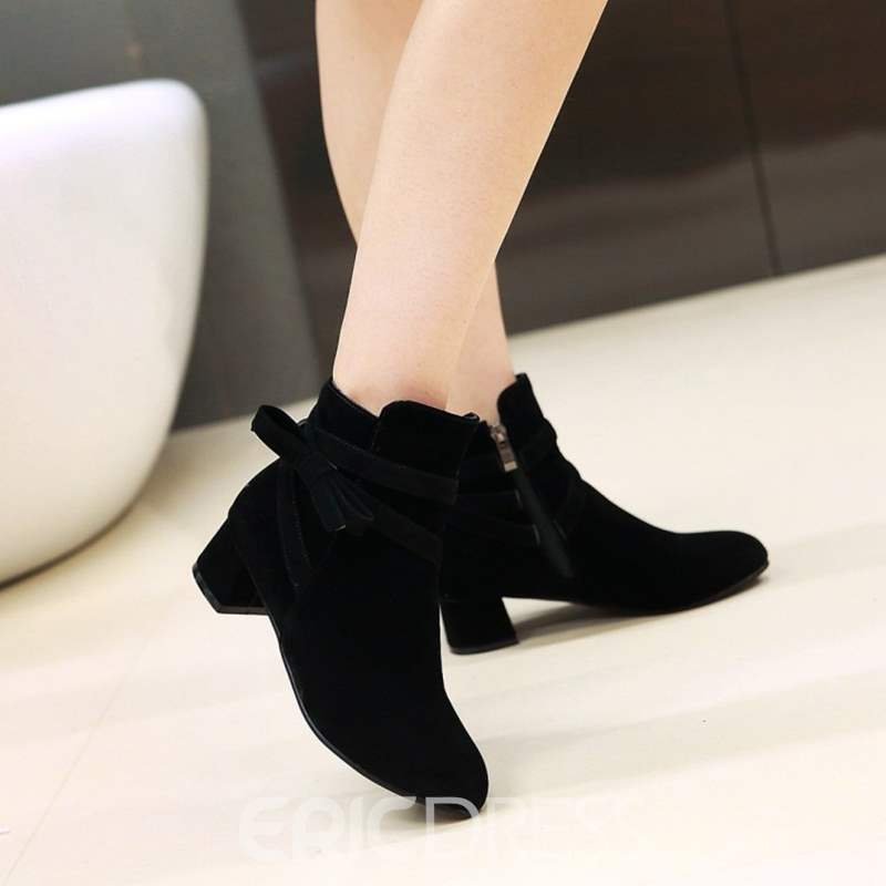 Ericdress Side Zipper Plain High Heel Ankle Boots with Bowknot