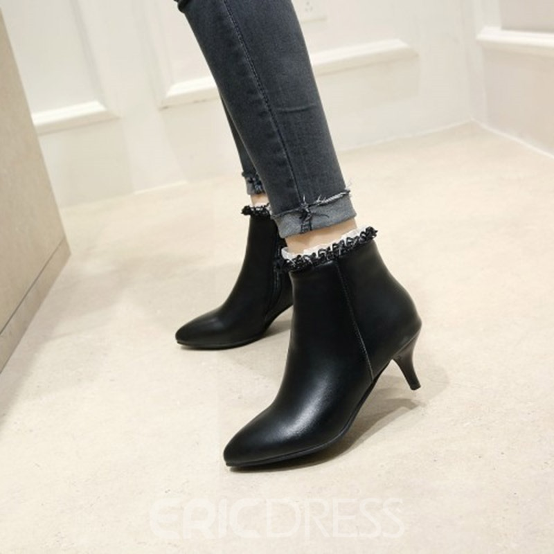 ericdress dentelle patchwork plaine stiletto talon bottines