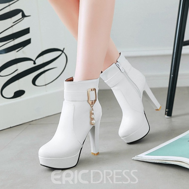 Ericdress Sequin Platform High Heel Boots with Beads
