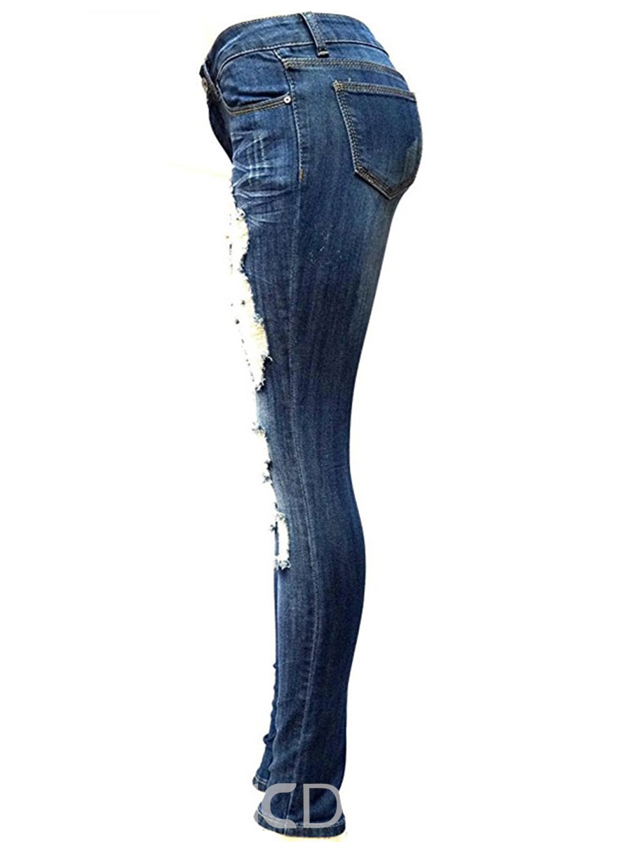 Ericdress Skinny Mid-Waist Ripped Jeans