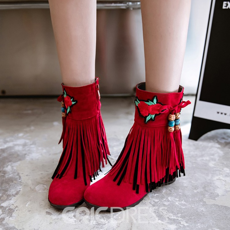 Ericdress Floral Embroidery Fringe Ankle Boots