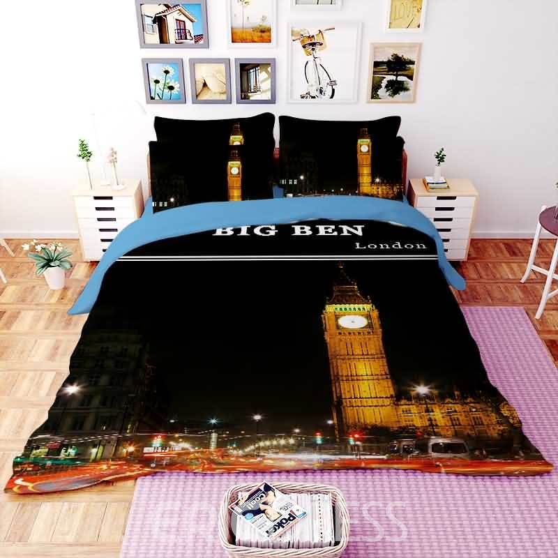 Vivilinen 3D Big Ben Printed Polyester 4-Piece Bedding Sets/Duvet Covers