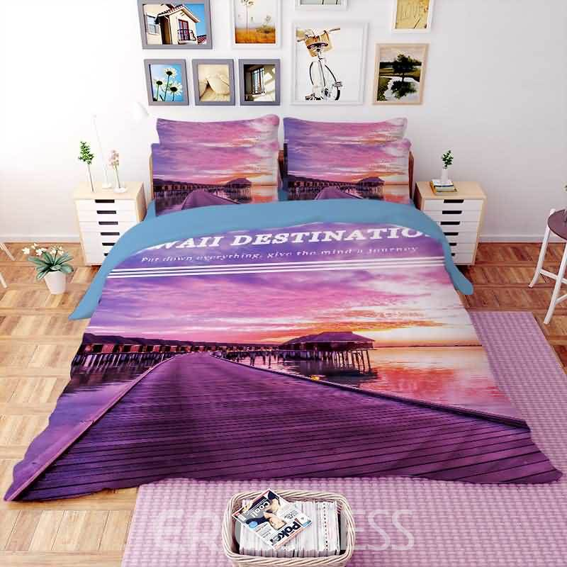 Vivilinen 3D Seaside Landscape Printed Polyester 4-Piece Purple Bedding Sets/Duvet Covers