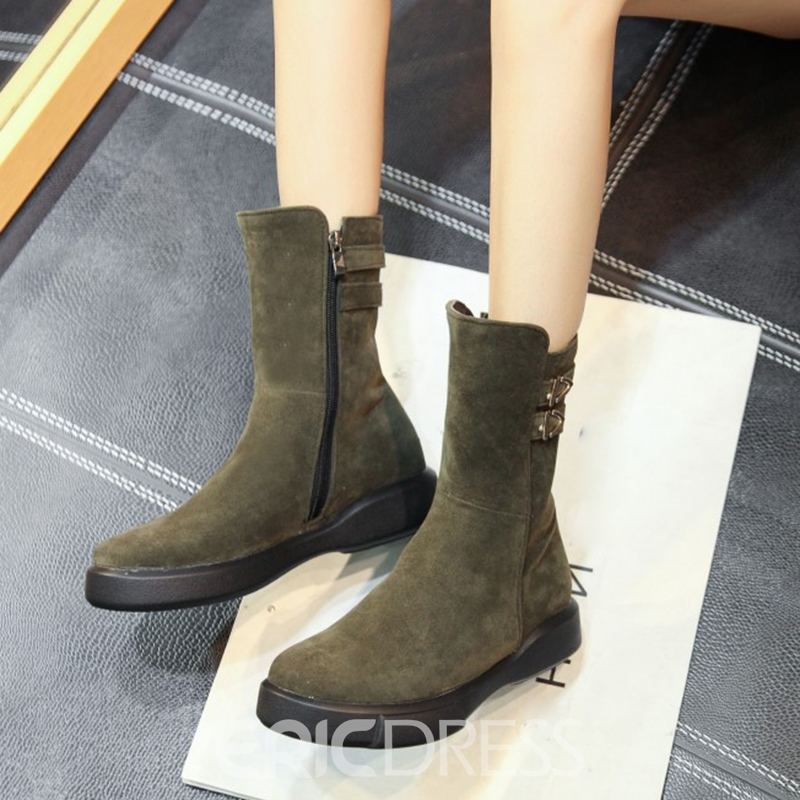 Ericdress Buckle Plain Round Toe Women's Flat Boots