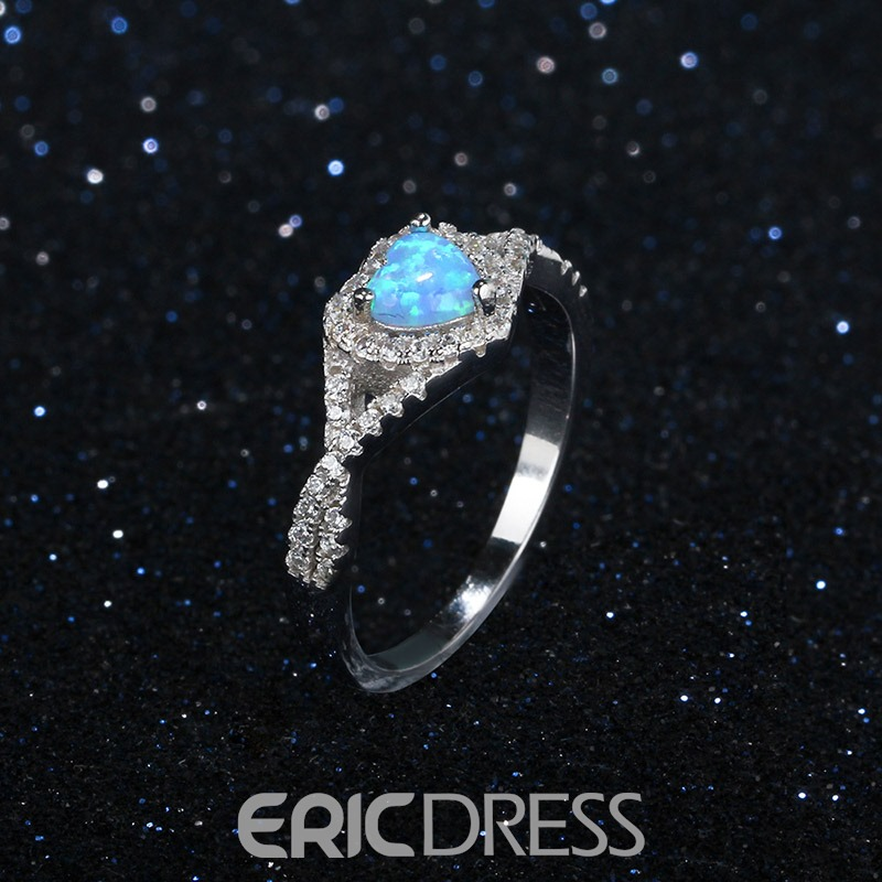 Ericdress Romantic Heart Full Rhinestone Wedding Ring for Women