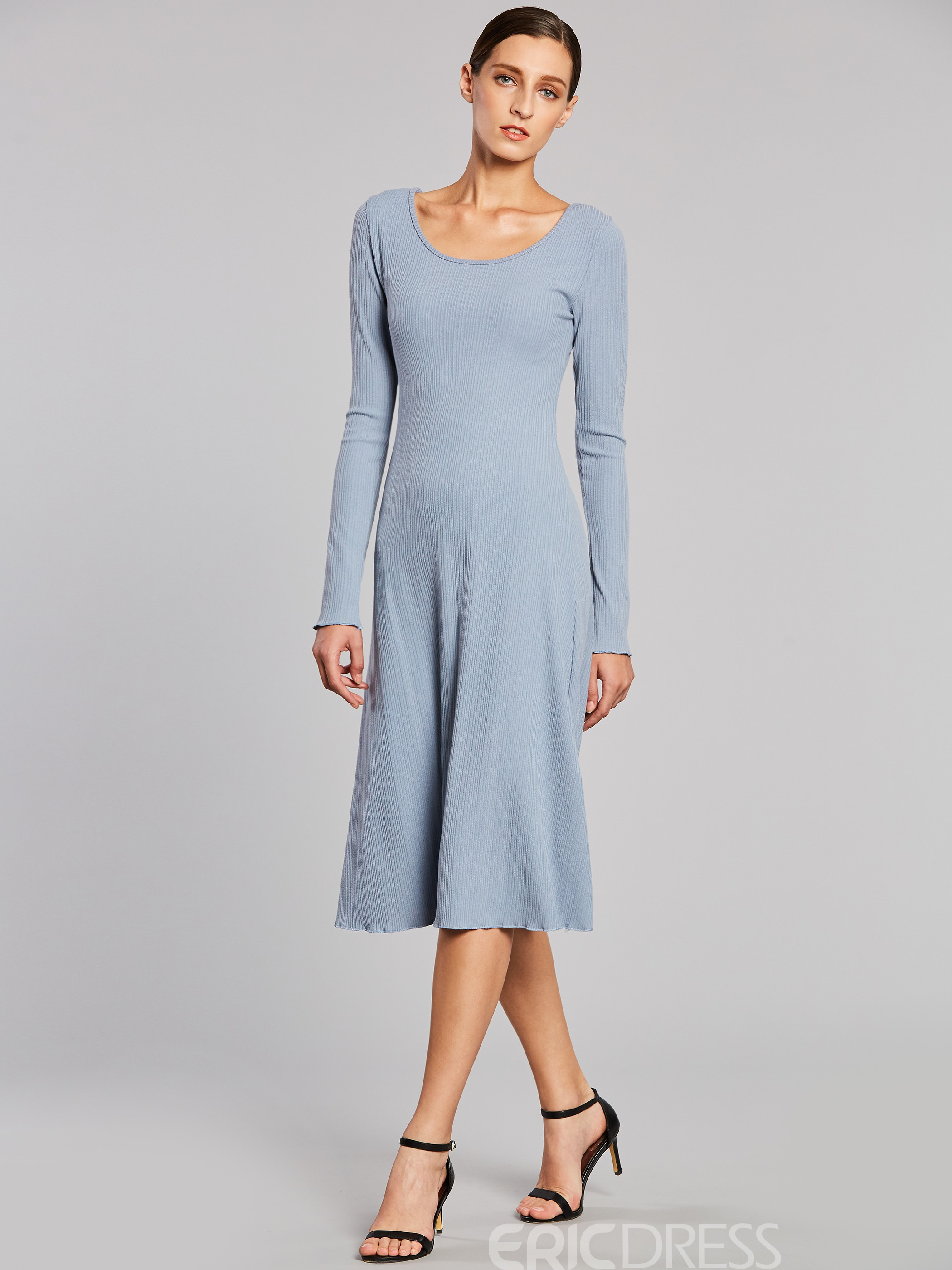 Ericdress Plain Long Sleeves A-Line Sweater Dress