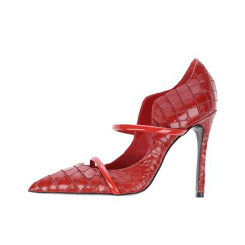 Ericdress Red Pointed Toe Slip-On Stiletto Heel Pumps