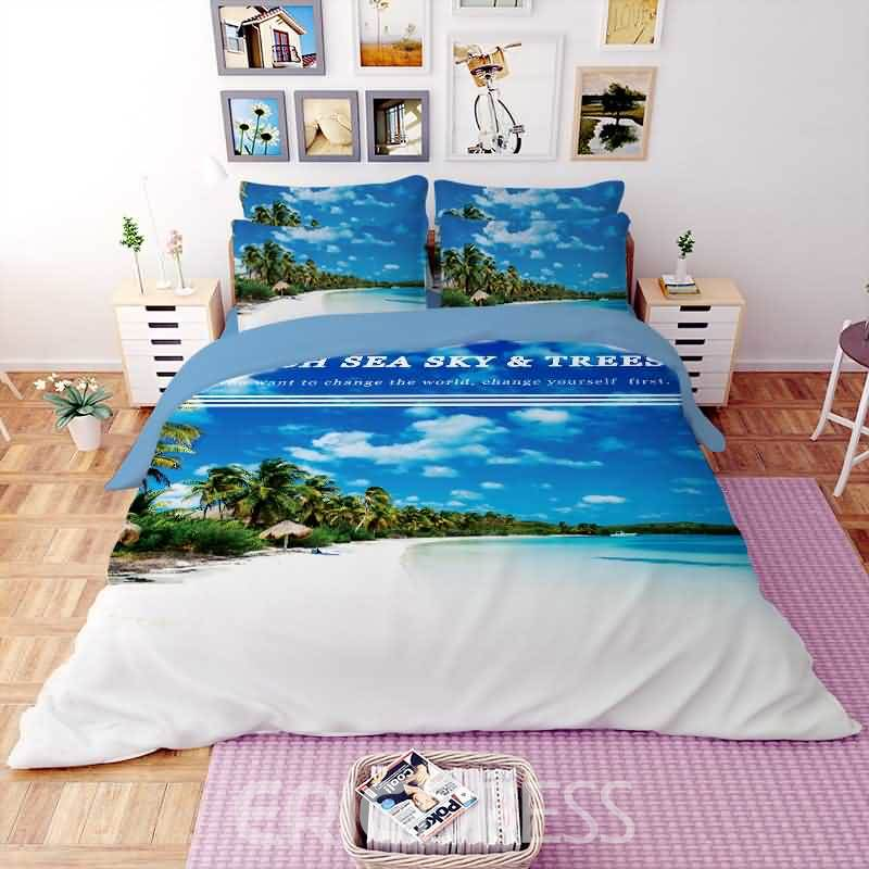 Vivilinen 3D Beach Line Printed Polyester 4-Piece Bedding Sets/Duvet Covers