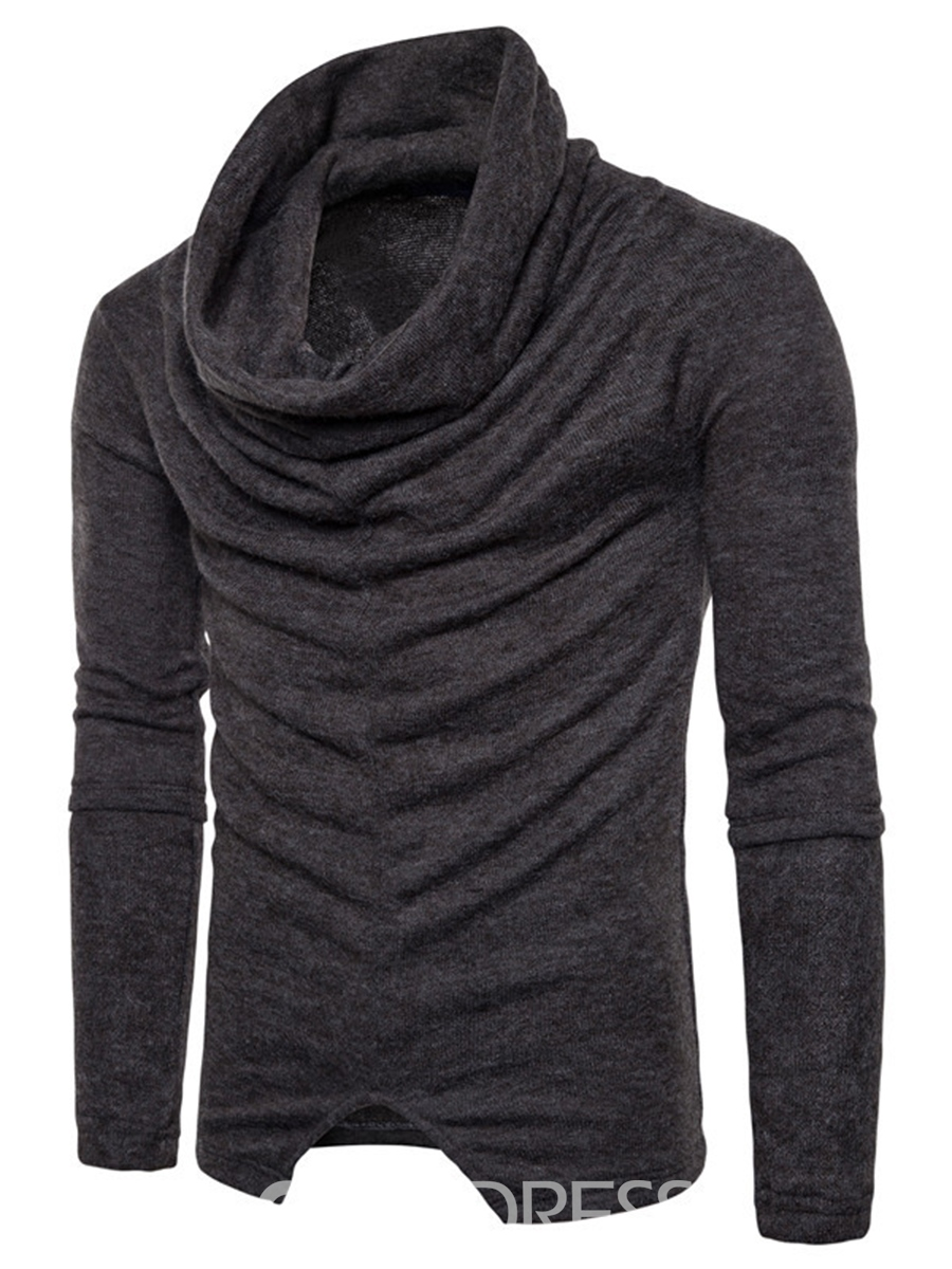 Ericdress Plain Heap Collar Vogue Slim Men's Pullover Sweater