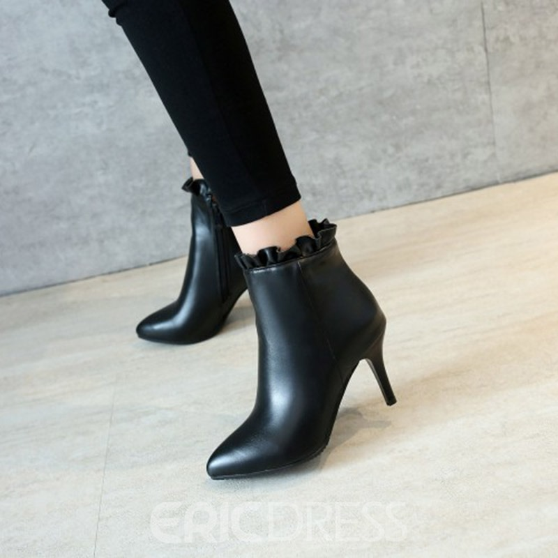 Ericdress Fashion Ruffles Pointed Toe Plain High Heel Boots