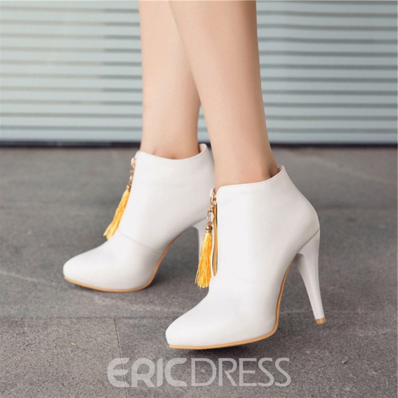 Ericdress Fringe Pointed Toe Plain Women's Stiletto Heel Boots
