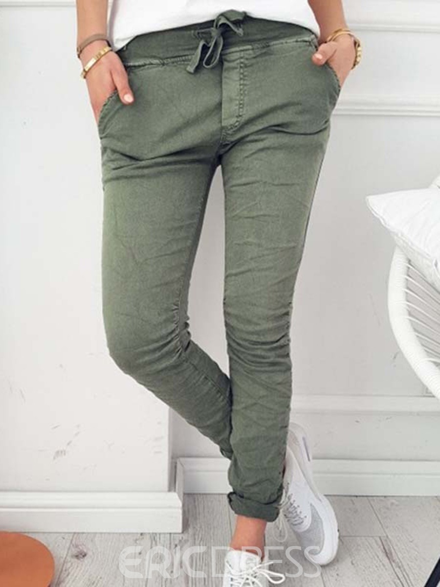 Ericdress Skinny Lace-Up Women's Pants