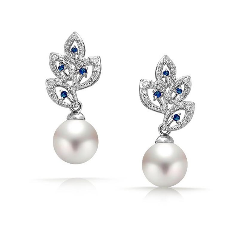 MarkChic High-End Leaf Imitation Pearl Drop Earring