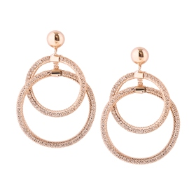 Ericdress Double Circle Fully-Jewelled Pure Color Women's Earring