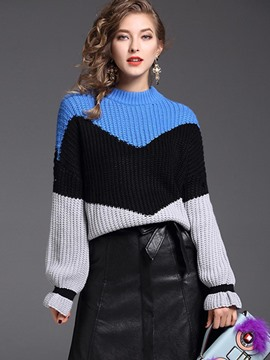 Ericdress Color Block Ruffles Loose Knitwear