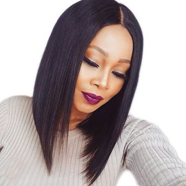 Ericdress Medium 150% Density Comfortable Straight African American Synthetic Hair Lace Front Wigs 14 Inches