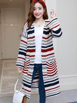 Ericdress Loose Mid-Length Stripe Cardigan Knitwear
