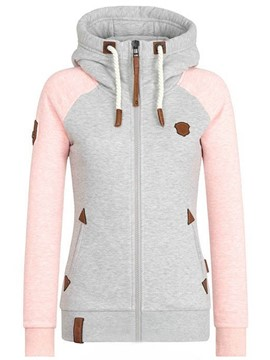 Ericdress Slim Patchwork Zipper Cool Hoodie