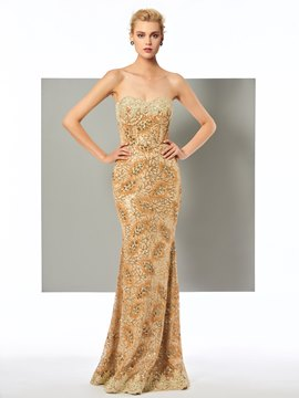 Ericdress Sheath Strapless Sequin Floor Length Lace Evening Dress