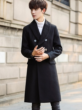Ericdress Lapel Mid-Length Vogue Slim Men's Woolen Coat