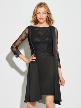 ericdress gaine manches longues robe de cocktail longueur au genou