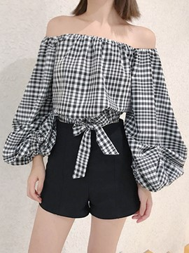 Ericdress Off-Shoulder Plaid Puff Sleeve Blouse