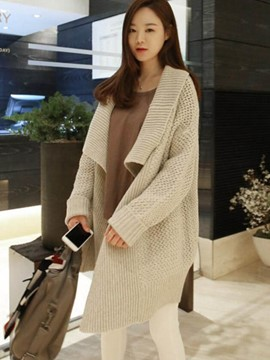 Ericdress Loose Mid-Length Plain Cardigan Knitwear