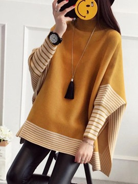 Ericdress Stripe Turtleneck Batwing Sleeve Knitwear