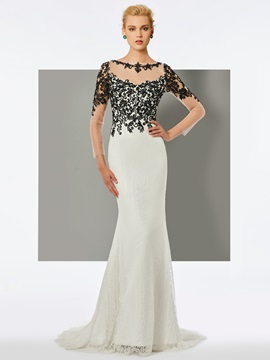 Ericdress Long Sleeve Beading Lace Mermaid Evening Dress