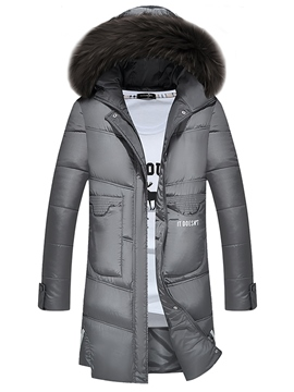Ericdress Plain Fuax Fur Collar Thicken Warm Down Slim Men's Winter Coat