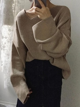 Ericdress Loose Asymmetric Plain Knitwear