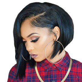Ericdress Black Straight Freestyle Hair Parting Medium Lace Front Synthetic Hair Wigs 12 Inches