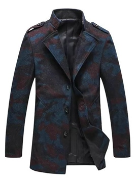 Ericdress Camouflage Notched Lapel Mid-Length Vogue Slim Men's Woolen Coat
