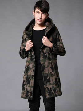 Ericdress Camouflage Lapel Mid-Length Vogue Slim Men's Woolen Coat