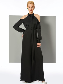 Ericdress A Line Long Sleeve Halter Floor Length Long Jumpsuit