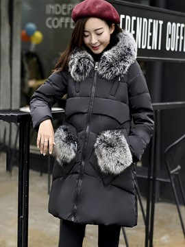 Ericdress A Line Mid-Length Thick Fur Hooded Coat