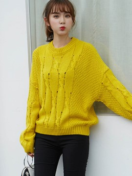 Ericdress Loose Plain Hollow Knitwear