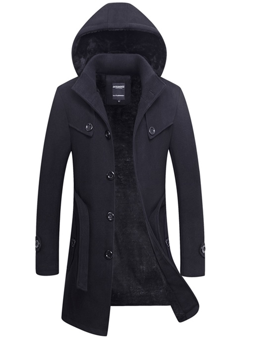 Ericdress Plain Thicken Warm Vogue Slim Men's Wool Coat