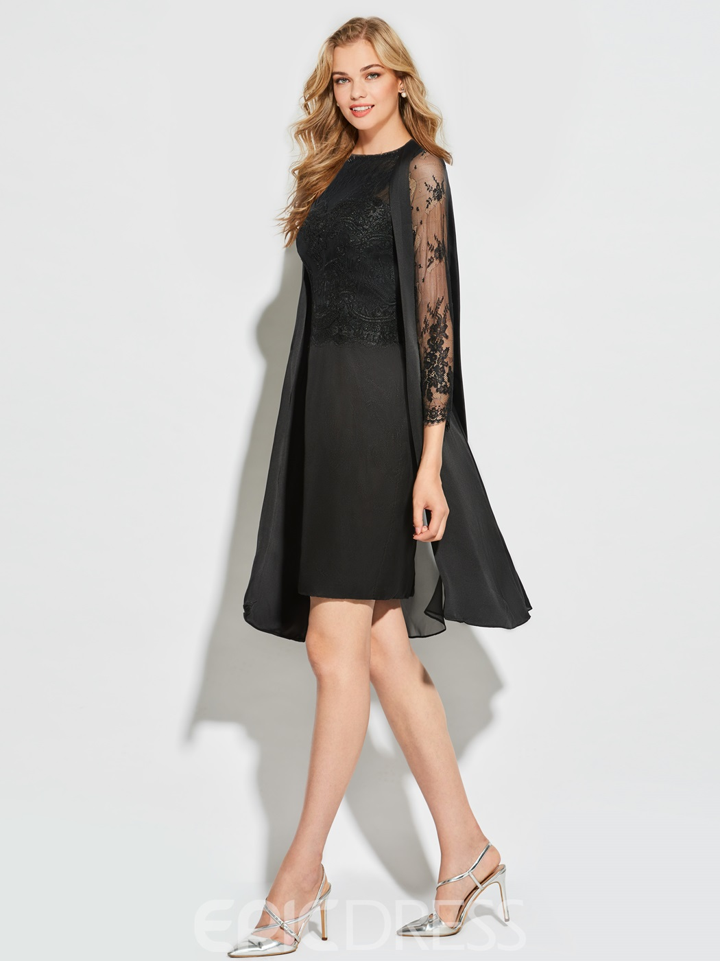 Ericdress Sheath Long Sleeve Knee Length Cocktail Dress
