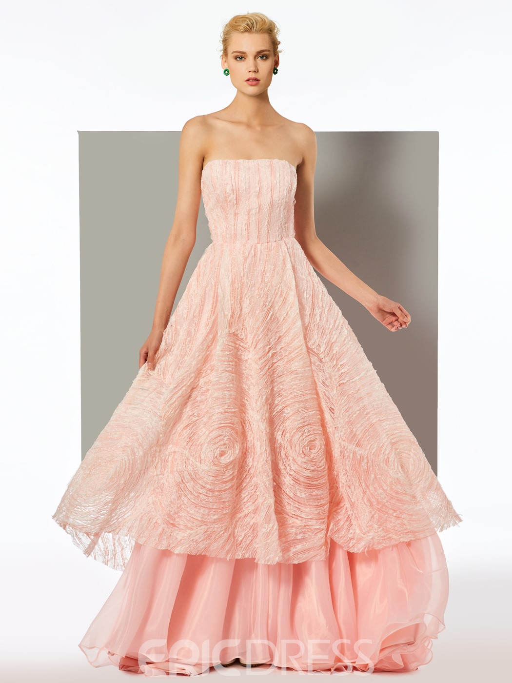Ericdress A Line Strapless Layers Lace Long Evening Dress