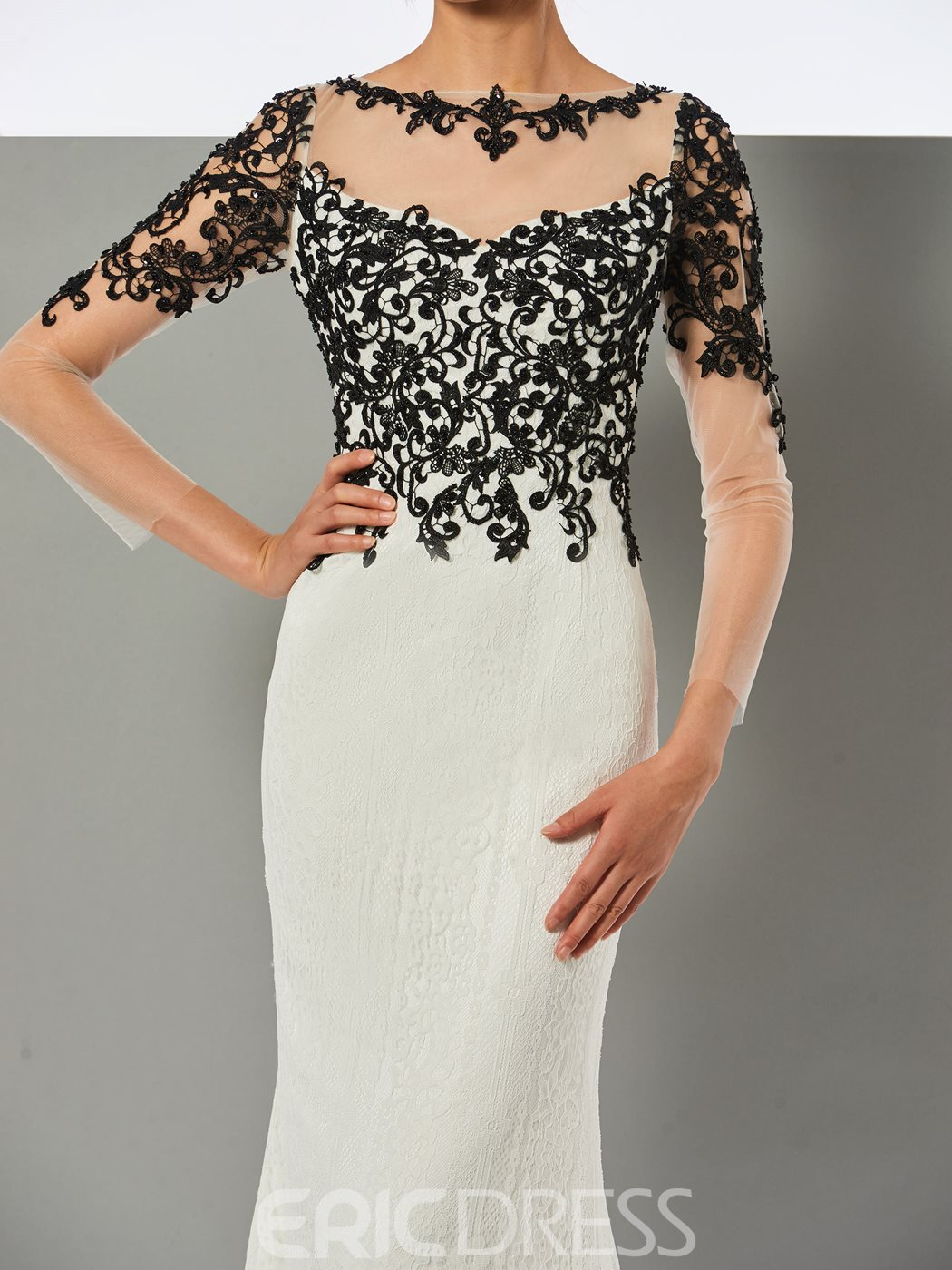 Ericdress Long Sleeve Bateau Neck Lace Applique Mermaid Evening Dress