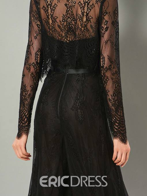 Ericdress Sheath Long Sleeve Applique Lace Prom Jumpsuit