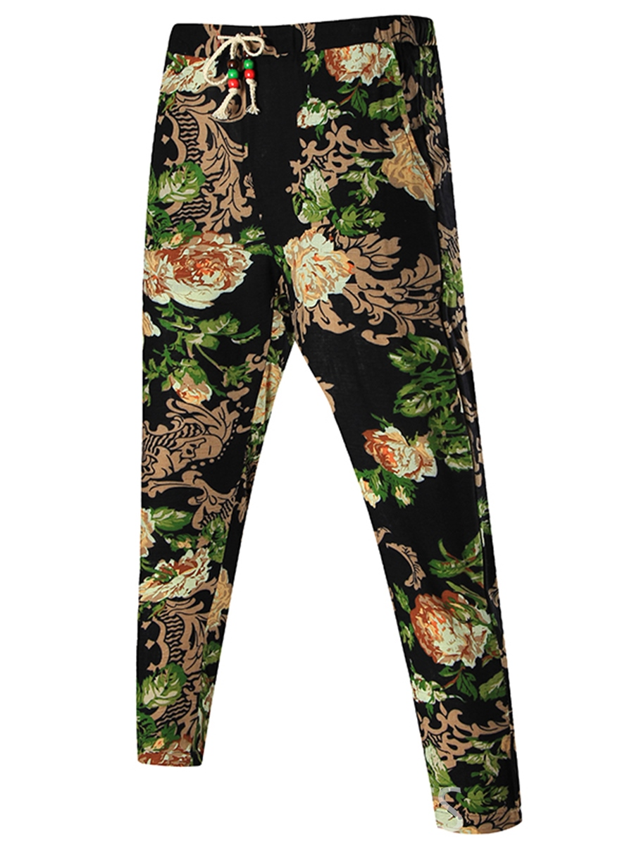 Ericdress Lace-Up Floral Print Vogue Slim Men's Pants